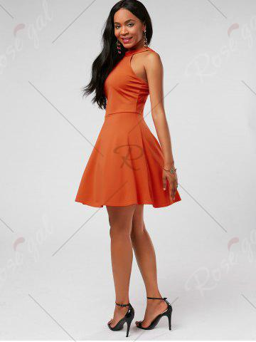 Trendy High Neck Mini Fit and Flare Cocktail Dress - S JACINTH Mobile