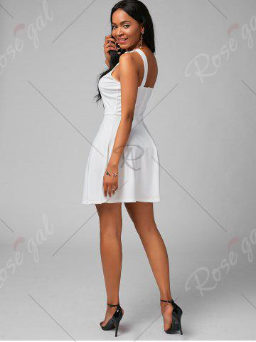 Fancy High Neck Mini Fit and Flare Cocktail Dress - XL WHITE Mobile