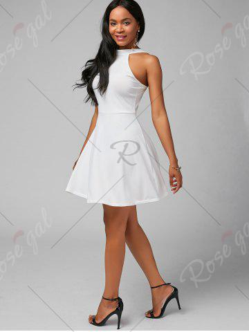 Outfits High Neck Mini Fit and Flare Cocktail Dress - XL WHITE Mobile