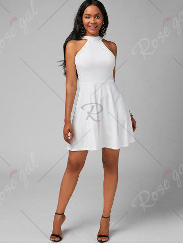 Fashion High Neck Mini Fit and Flare Cocktail Dress - XL WHITE Mobile