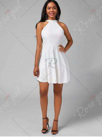 Shops High Neck Mini Fit and Flare Cocktail Dress - XL WHITE Mobile
