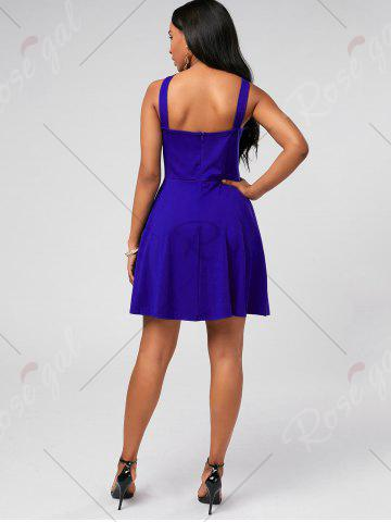 Store High Neck Mini Fit and Flare Cocktail Dress - XL BLUE Mobile