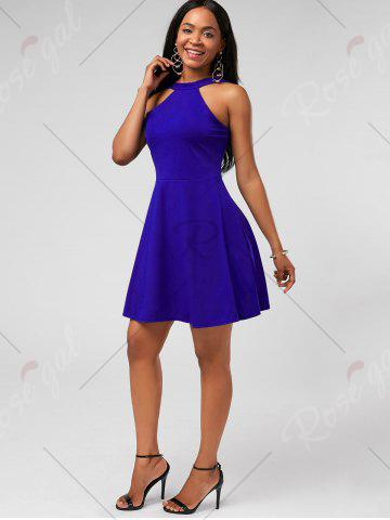 Affordable High Neck Mini Fit and Flare Cocktail Dress - XL BLUE Mobile