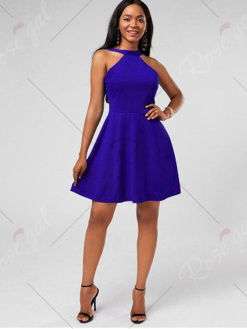 Cheap High Neck Mini Fit and Flare Cocktail Dress - XL BLUE Mobile