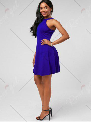 Fancy High Neck Mini Fit and Flare Cocktail Dress - XL BLUE Mobile
