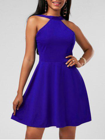 High Neck Mini Fit and Flare Cocktail Dress - Blue - M
