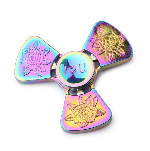 Chic I Love You Rose Flower Tri-bar EDC Fidget Metal Spinner