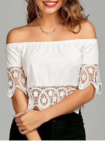 Discount Off The Shoulder Crochet Lace Insert Blouse WHITE S