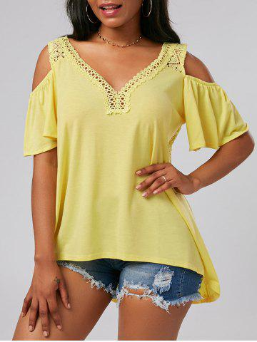 Crochet Cold Shoulder Tunic - Yellow - L