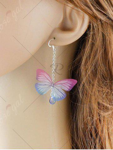 Hot Butterfly Drop Earrings with Acrylic Gem - PINK  Mobile