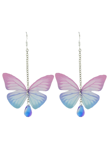 Fancy Butterfly Drop Earrings with Acrylic Gem PINK