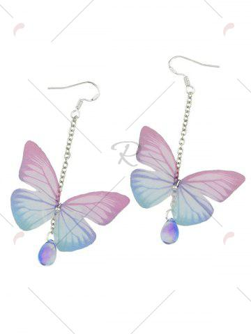 Trendy Butterfly Drop Earrings with Acrylic Gem - PINK  Mobile
