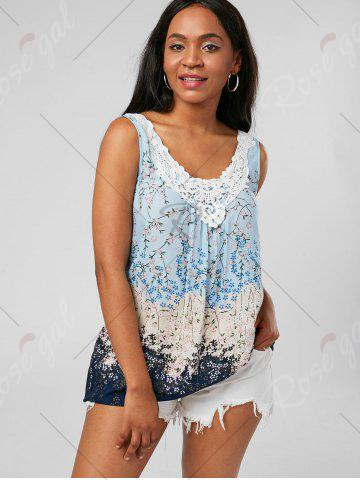 Store Tiny Floral Criss Cross Top - XL PINKISH BLUE Mobile