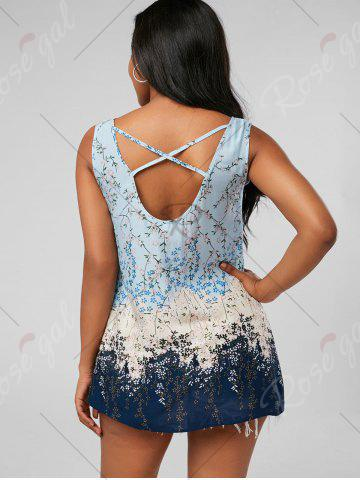 Fashion Tiny Floral Criss Cross Top - XL PINKISH BLUE Mobile
