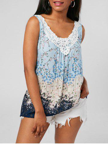 Store Tiny Floral Criss Cross Top PINKISH BLUE 2XL