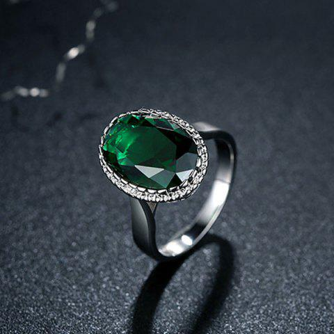 Trendy Faux Crystal Zircon Platinum Plated Ring GREEN