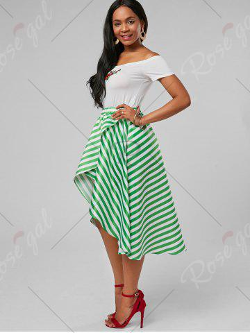 Affordable Stripe High Low Skirt - XL MINT Mobile