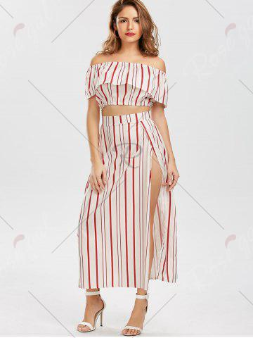 Best Off The Shoulder Striped Three Piece Dress - S RED Mobile