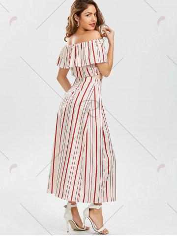 Fancy Off The Shoulder Striped Three Piece Dress - M RED Mobile
