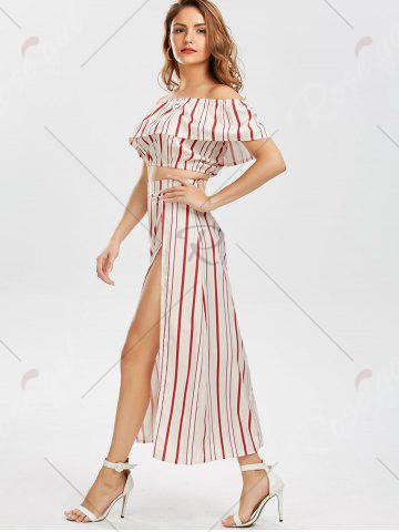 Outfit Off The Shoulder Striped Three Piece Dress - M RED Mobile