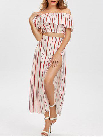 Best Off The Shoulder Striped Three Piece Dress - L RED Mobile