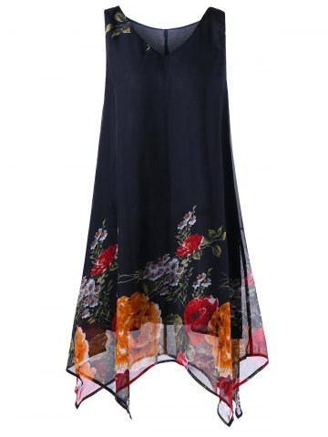 A Line Tunic V Neck Floral Plus Size Handkerchief Dress - Black - 5xl