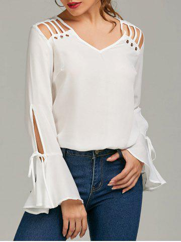 Shop Bell Sleeve Cut Out Chiffon Top WHITE L