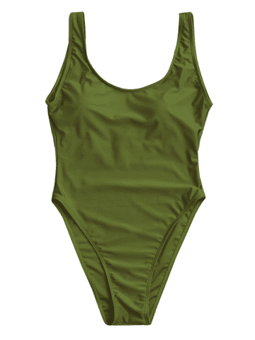 Buy Backless High Cut One Piece Swimwear - L GREEN Mobile
