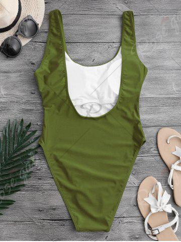 Store Backless High Cut One Piece Swimwear - L GREEN Mobile