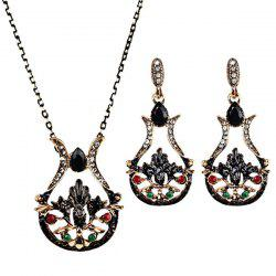 Faux Gemstone Teardrop Necklace and Earring Set