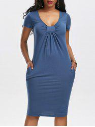 Low Cut Ruched Bodycon Dress with Pockets - CERULEAN