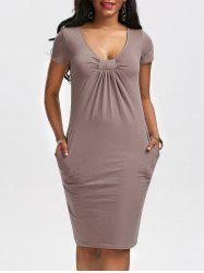 Low Cut Ruched Bodycon Dress with Pockets