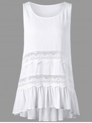 Sleeveless Openwork Insert High Low Hem Blouse - WHITE