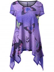 Butterfly Pattern Handkerchief T-shirt - PURPLE