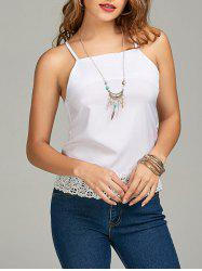 Lace Panel Cami Top - Blanc