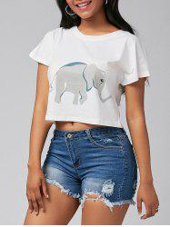 Cute Elephant Print Short Sleeve Crop Top