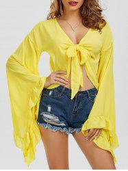 Self-Tie Chiffon Bell Sleeve Top
