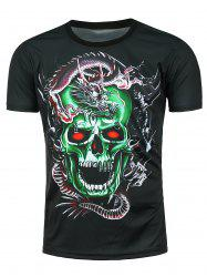 3D Dragon Skull Printed Crew Neck T-shirt - BLACK