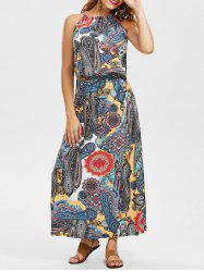 Mock Neck Print Sleeveless Bohemian Dress