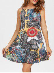 Bohemian Print Mock Neck Slip Trapeze Dress