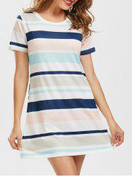 Striped Pocket Short Sleeve T Shirt Dress - COLORMIX