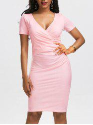 V Neck Ruched Surplice Bodycon Dress