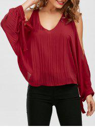 Pleated Self Tie Cold Shoulder Blouse
