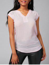 V Neck Mesh Insert Blouse