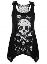 Skull Printed Lace Trim Racerback Tank Top - BLACK