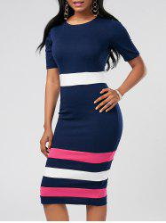 Sheath Color Block Midi Pencil Dress - PURPLISH BLUE