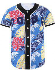 Button Up Leaves Printed Baseball Jersey