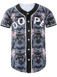 Graphic Printed Floral Baseball Jersey