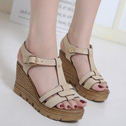 Wedge Heel T Bar Sandals