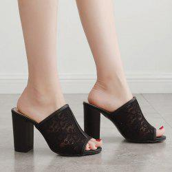 Block Heel Lace Slippers - BLACK